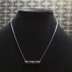 NWT Or Paz Sterling Gemstone & Rose Bar Necklace